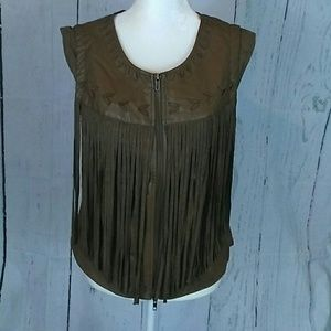 Brown faux leather fringe vest country festival